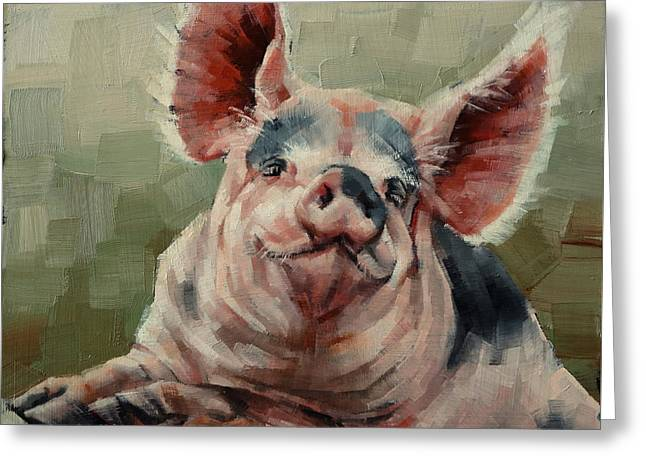 Personality Pig Greeting Card by Margaret Stockdale