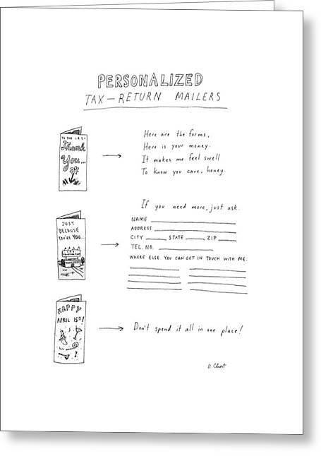 Personalized Tax-return Mailers Greeting Card by Roz Chast