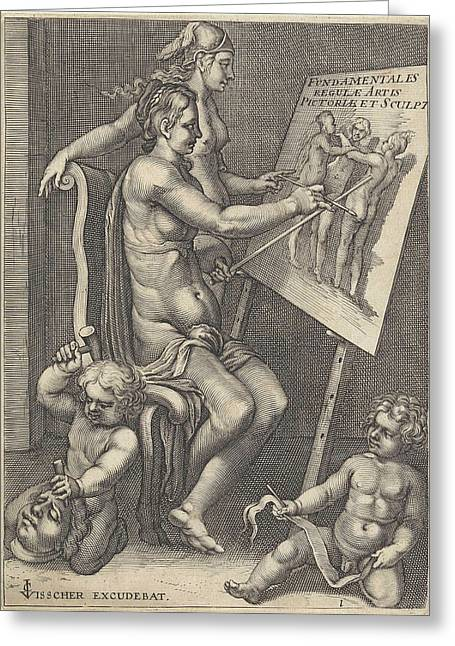 Personification Of Painting, Anonymous Greeting Card by Anonymous And Claes Jansz. Visscher (ii)