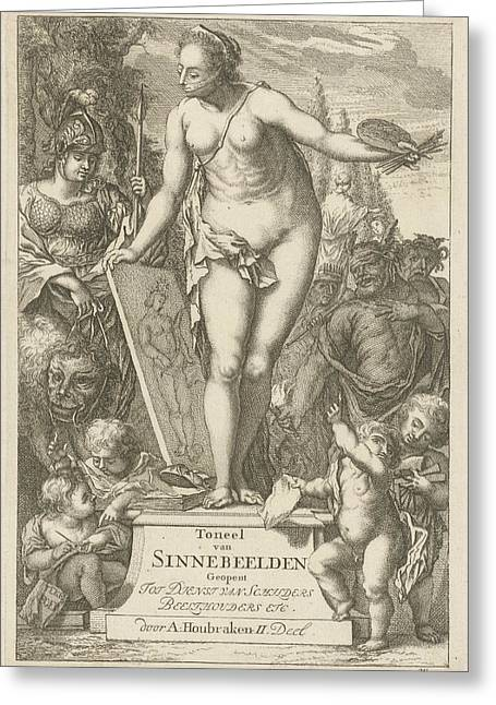 Personification Of Painting On A Pedestal Greeting Card by Arnold Houbraken And Nicolaes De Vries