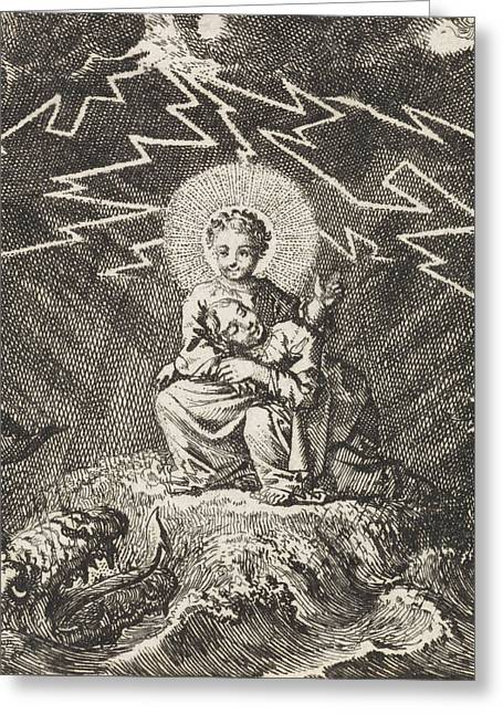 Personified Soul Asleep In Christs Lap During Storm Greeting Card by Jan Luyken