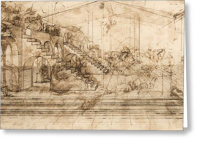 Perspectival Study Of The Adoration Of The Magi Greeting Card by Leonardo da Vinci