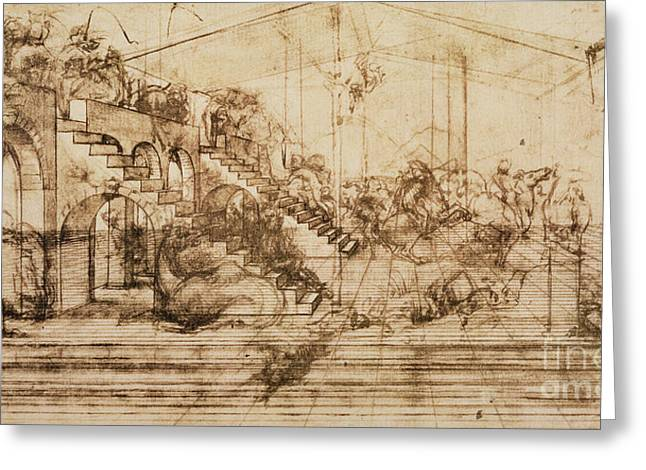 Perspective Study For The Background Of The Adoration Of The Magi Greeting Card