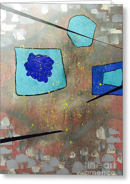Greeting Card featuring the painting Perspectives In Blue And Grey by Theresa Kennedy DuPay