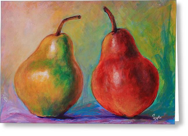 Persuasive Pear Greeting Card by Eve  Wheeler