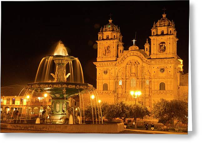 Peru, Cusco, Night View Of Fountain Greeting Card by Jaynes Gallery