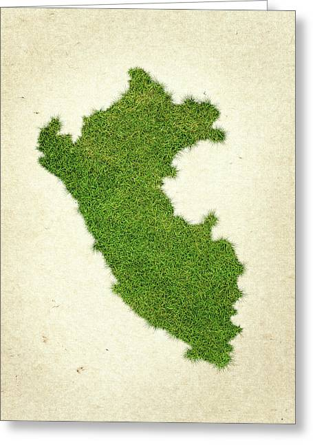 Peru Grass Map Greeting Card by Aged Pixel