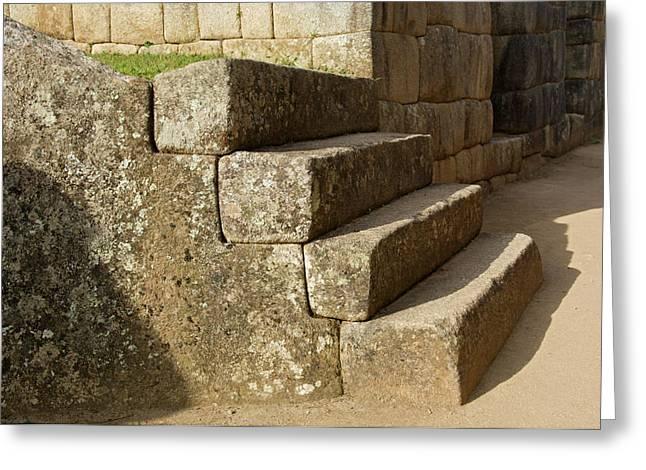 Peru, Machu Picchu, Four Stone Steps Greeting Card