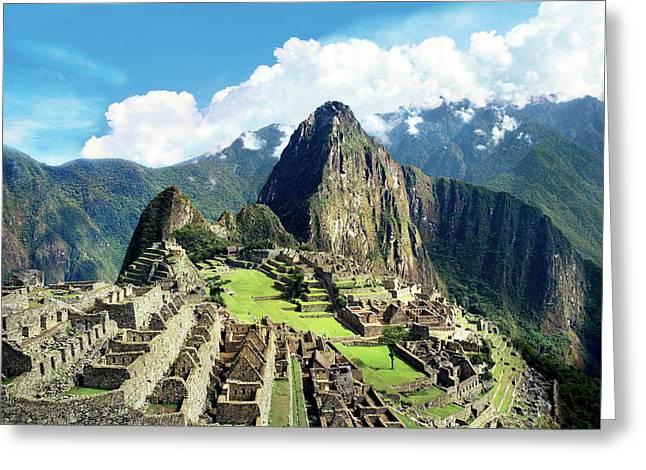 Peru, Machu Picchu, The Lost City Greeting Card by Miva Stock