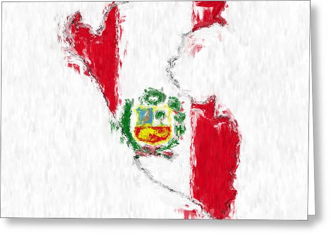 Peru Painted Flag Map Greeting Card by Antony McAulay