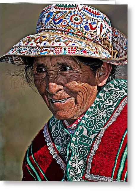 Peruvian Old Lady Greeting Card by Walter Iglesias