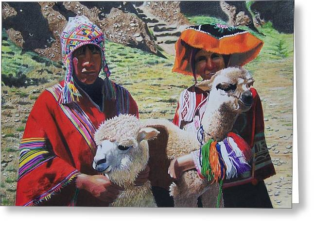 Peruvians Greeting Card by Constance Drescher