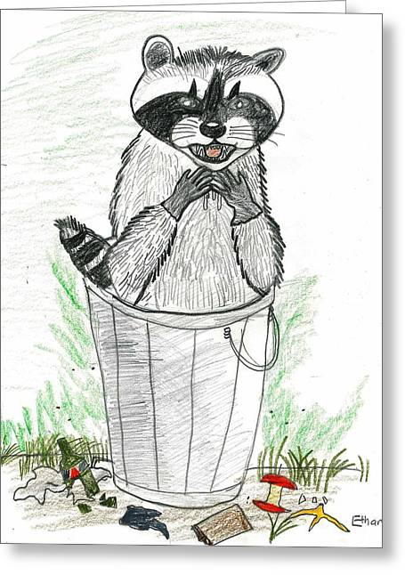 Greeting Card featuring the drawing Pesky Raccoon by Ethan Chaupiz