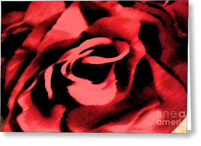 Petals Of Velvetty Red Greeting Card by Catherine Lott