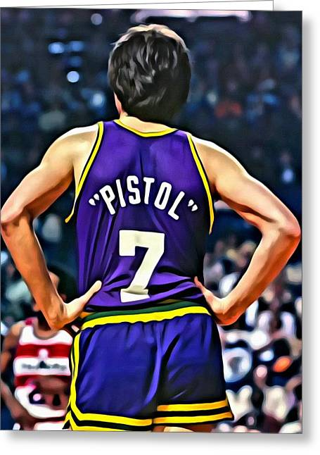 Greeting Card featuring the painting Pete Maravich by Florian Rodarte