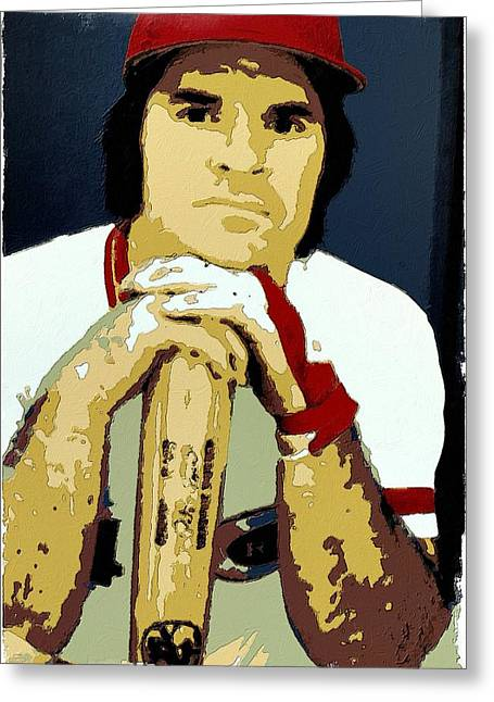 Pete Rose Poster Art Greeting Card by Florian Rodarte