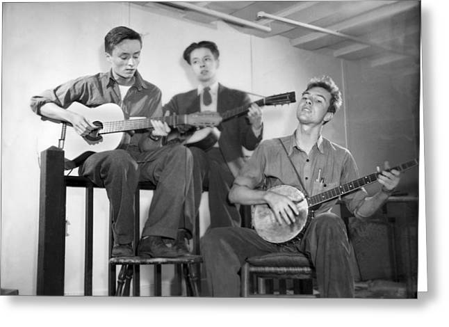 Pete Seeger & Friends Greeting Card by Underwood Archives