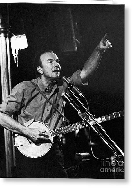 Pete Seeger  Greeting Card by Erik Falkensteen