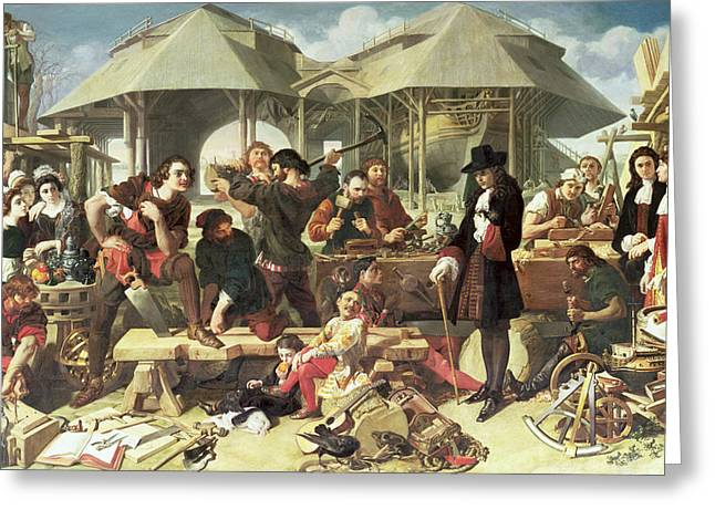 Peter I, The Great At Deptford Greeting Card by Daniel Maclise
