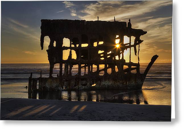 Peter Iredale Shipwreck Sunset Greeting Card by Mark Kiver