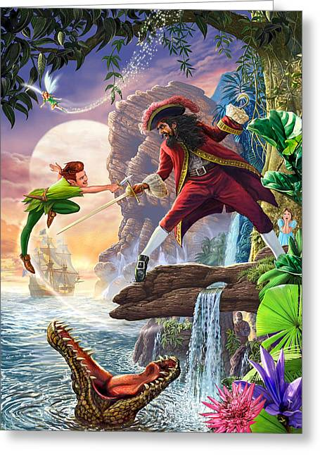 Peter Pan And Captain Hook Greeting Card
