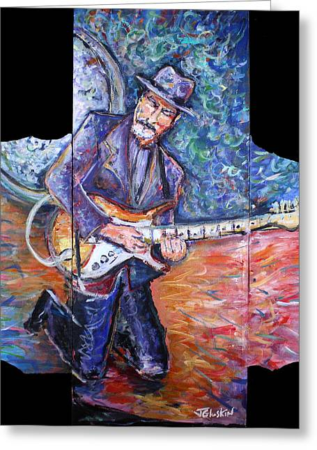 Peter Parcek Plays The Blues Greeting Card by Jason Gluskin