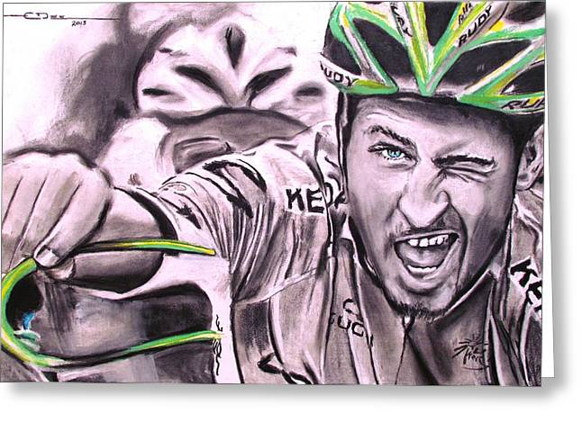 Peter Sagan Greeting Card by Eric Dee