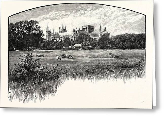 Peterborough Cathedral, Properly The Cathedral Church Of St Greeting Card by English School