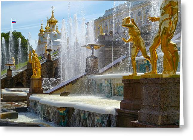 Peterhof Palace Fountains Greeting Card by David Nichols