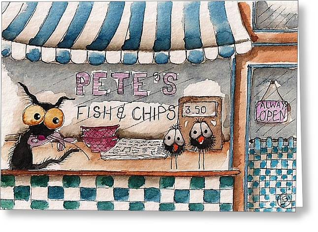 Pete's Fish And Chips Greeting Card by Lucia Stewart
