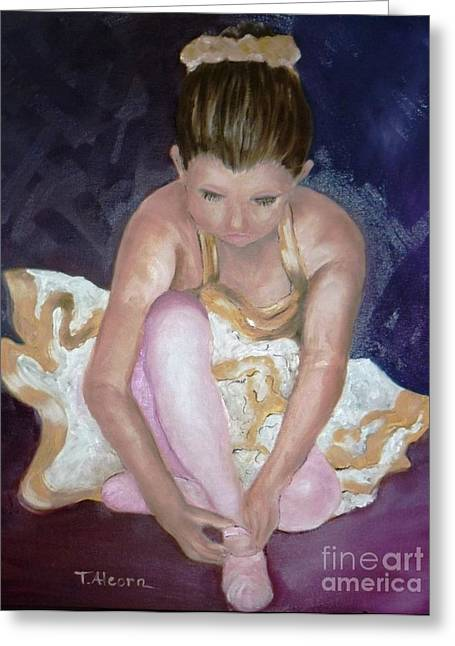 Greeting Card featuring the painting Petite Danseuse - Original Sold by Therese Alcorn