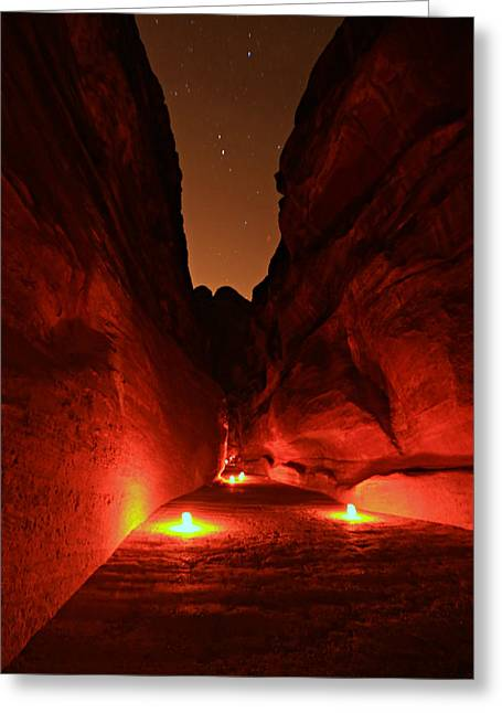 Petra Night Walk Greeting Card