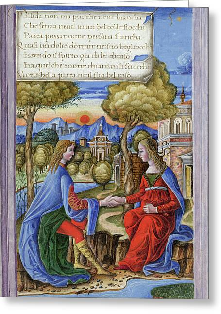 Petrarch And Laura Greeting Card by British Library