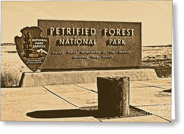 Petrified Forest National Park Entrance Sign Rustic Greeting Card