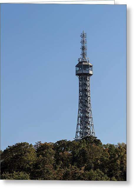Petrin Lookout Tower. Prague. Greeting Card by Fernando Barozza