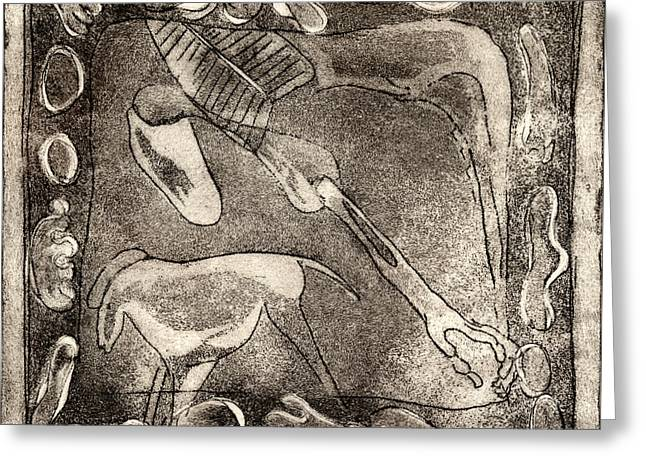 Petroglyph - Horse Takhi And Stones - Prehistoric Art - Cave Art - Rock Art - Cave Painters Greeting Card