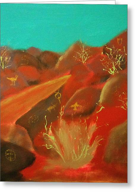 Greeting Card featuring the painting Petroglyph Park by Keith Thue