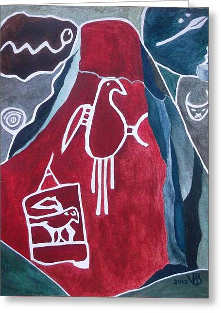 Petroglyph Parrot Greeting Card