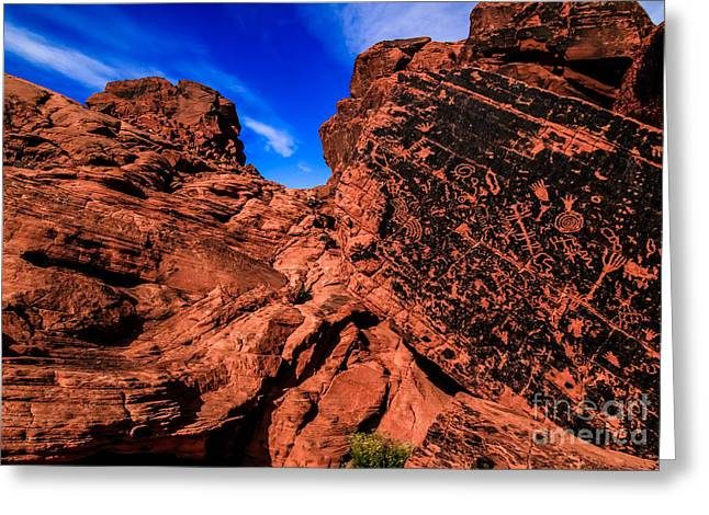 Petroglyphs Of Valley Of Fire Canyon Greeting Card by Brenda Giasson
