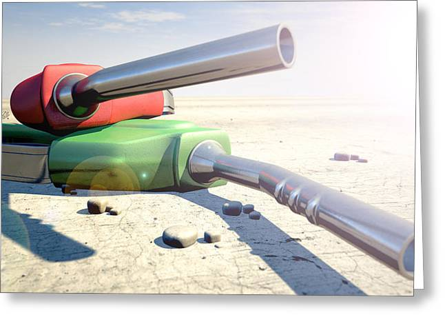 Petrol Nozzles In The Desert Greeting Card