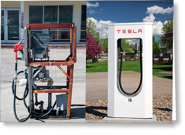 Petrol Pump And Electric Charging Point Greeting Card by Jim West