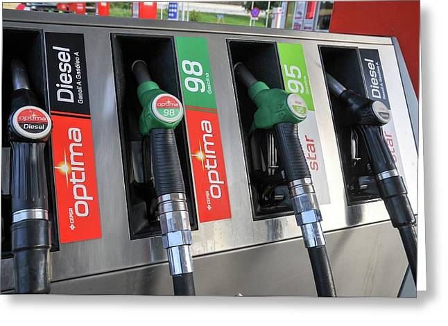 Petrol Station Pumps. Greeting Card by Photostock-israel