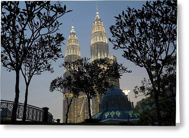 Petronas Towers And Al-asyikin Mosque Greeting Card by Peter Adams