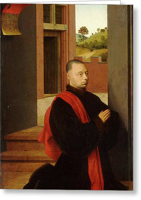 Petrus Christus, Portrait Of A Male Donor Greeting Card