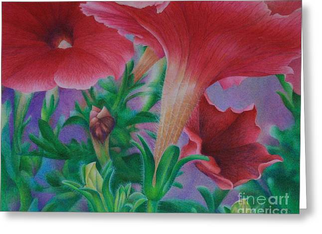 Greeting Card featuring the painting Petunia Skies by Pamela Clements