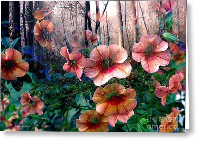Petunias In The Forest Greeting Card