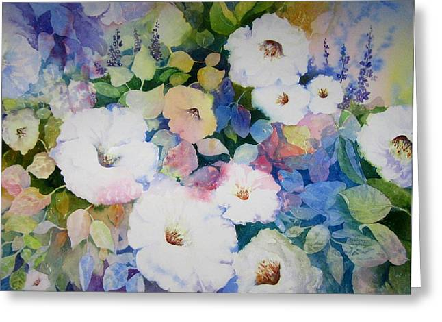 Petunias In White Greeting Card