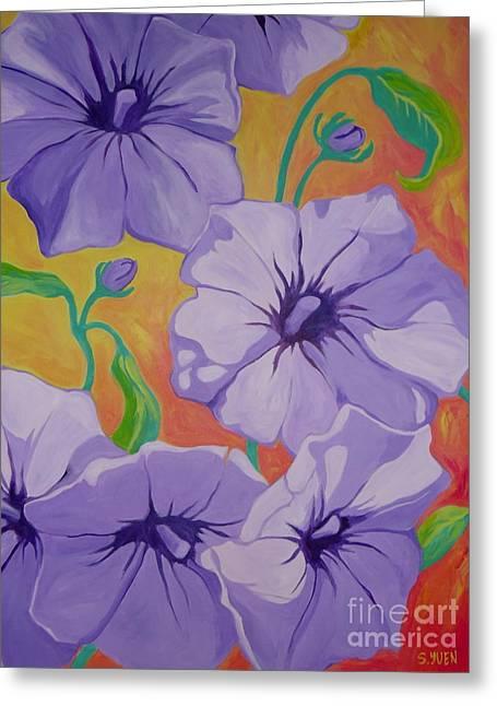 Petunias Greeting Card by Sandra Yuen MacKay