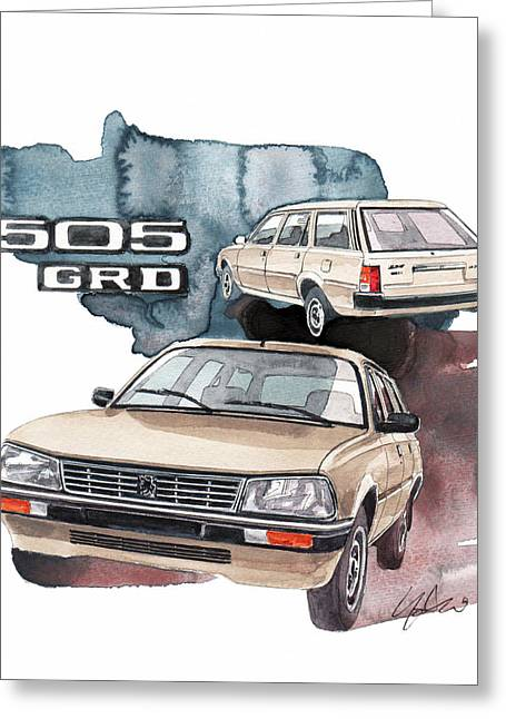 Peugeot 505 Greeting Card
