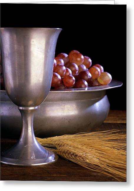 Pewter Chalice Grapes Wheat Communion Greeting Card